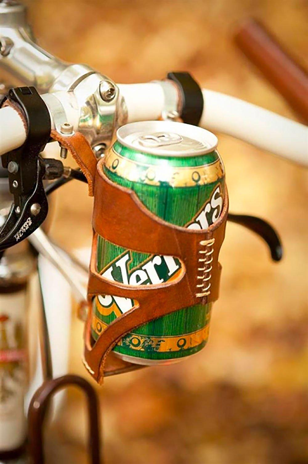 Porte canette en cuir pour votre vélo Bicycle Can Cage !