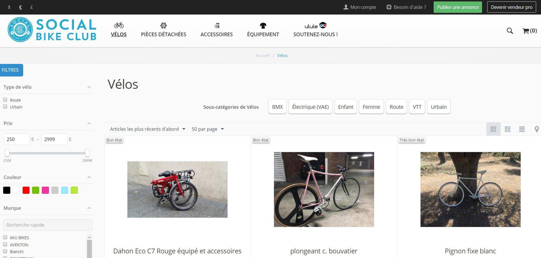 Social Bike Club, acheter et vendre son matériel de vélo